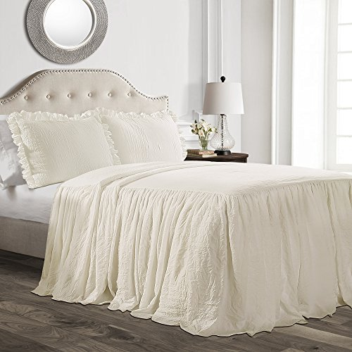 Lush Decor Ruffle Skirt Bedspread Ivory Shabby Chic Farmhouse Style Lightweight 3 Piece Set, Queen