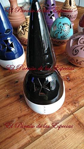 Conjunto formado por Incensario con Forma de Nazareno Esmaltado Negro, 10 Pastillas de Carbón Litúrgico & 50 grs de Incienso Lagrimas - Incensario Negro Entero