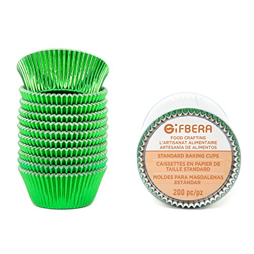Gifbera Green Foil Standard Cupcake Liners Muffin Cups for Baking Holiday Party, 200-Count
