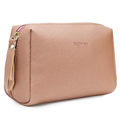 Small Vegan Leather Makeup Bag for Purse Travel Makeup Pouch Mini Cosmetic Bag for Women Girls (Small, Orange)