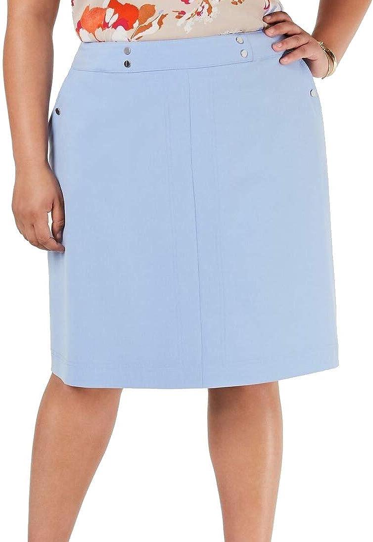 bar III Womens Light Blue Zippered Knee Length A-Line Wear to Work Skirt Size 14W