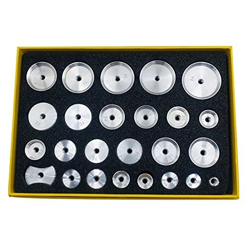 ZXC 25 unids Prensa Duradera Profesional Reloj de reparación de Relojes de reparación de Estuches de Cristal Muelle Conjunto Conjunto de Aluminio Trasero de Molde en Rosca