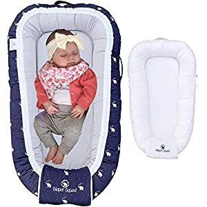 Diaper Squad 100% Organic Cotton Baby Nest Lounger, Water-Resistant with Additional Safety Cover and Carrying Bag for Boys and Girls