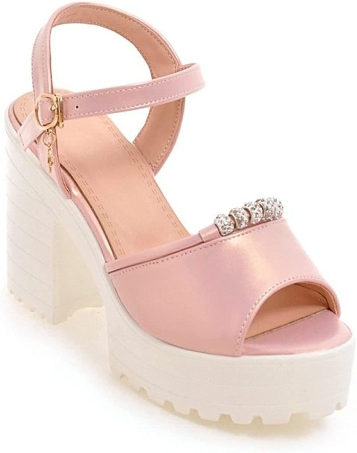 Ms. Summer Sweet Crude with high-Heeled Fish Mouth Clasp Beaded Water Drilling Sandals