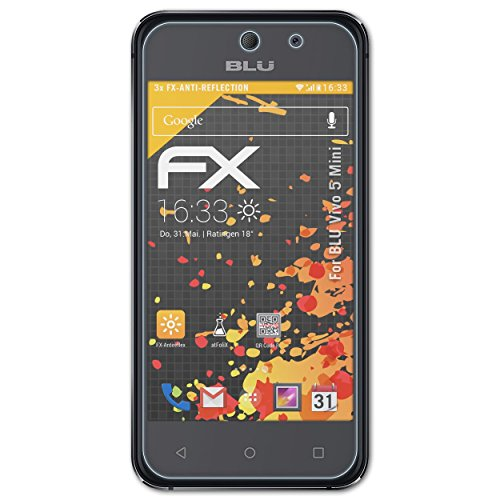 atFolix Panzerfolie kompatibel mit BLU Vivo 5 Mini Schutzfolie, entspiegelnde & stoßdämpfende FX Folie (3X)