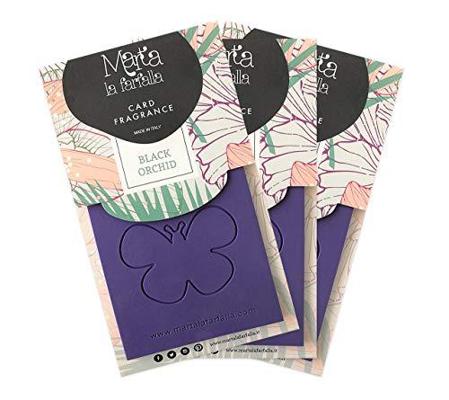 Marta La Farfalla - Tarjeta Black Orchid - Ambientador / desodorante para habitaciones y coche - 3 unidades