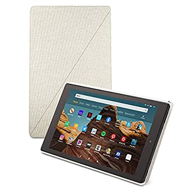 Fire HD 10 Tablet (64 GB, White, With Special Offers) + Amazon Standing Case (Sandstone White) + 15W USB-C Charger from