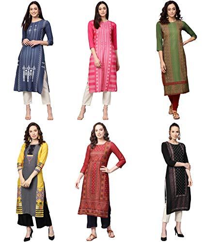 Vaamsi Women's PrinteN Polyester Straight Kurta Combo (Pack of 6)...