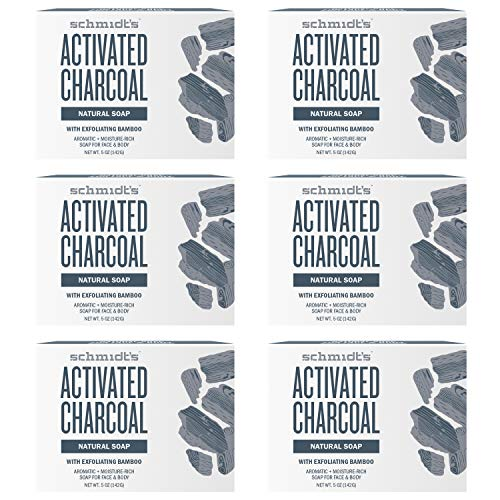 Schmidt's Natural Bar Soap For Face and Body, Activated Charcoal Aromatic and Moisture Rich Gentle Skin Cleanser 5 oz Pack of 6