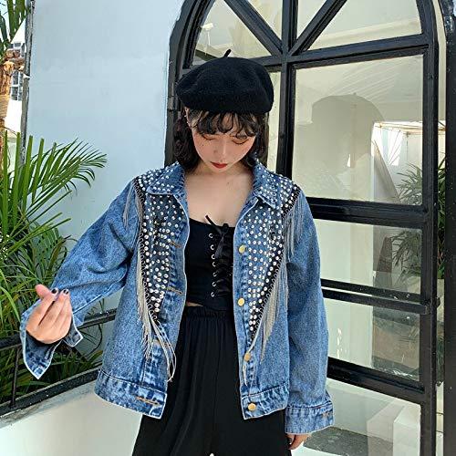 NZJK Mujer Otoño Remache con Tachuelas Cadena De Borla Chaqueta Corta De Jeans Chaqueta Suelta De Mujer Chaqueta De Mezclilla Streetwear De Moda