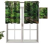 Hiiiman Elegantes cenefas de cortina con ojales en la parte superior, diseño de bosque exótico salvaje, juego de 2, 42 x 24 pulgadas, decoración del hogar para habitación de niños y niñas