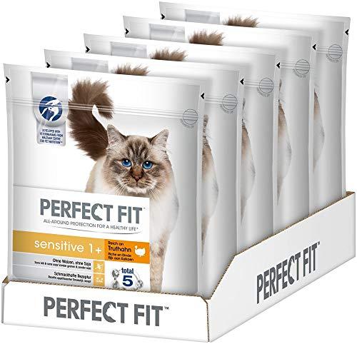 Perfect Fit Katzenfutter Trockenfutter Sensitive ohne Weizen und Soja für optimale Verdauung Adult 1+ Reich an Truthahn, 5 Beutel (5 x 750g)