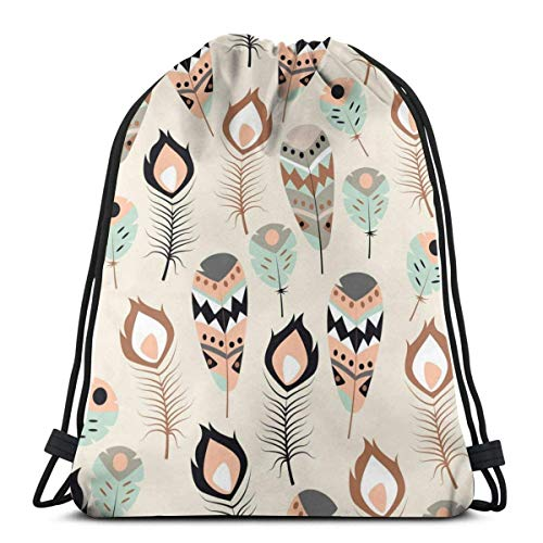 XCNGG Bolsa de gimnasia Bolsa con cordón Bolsa de viaje Bolsa de deporte Mochila escolar MochilaSeamless Pattern With Boho Tribal Colorful Feathers Gym Bag Travel Drawstring Backpack Men & Women Sport