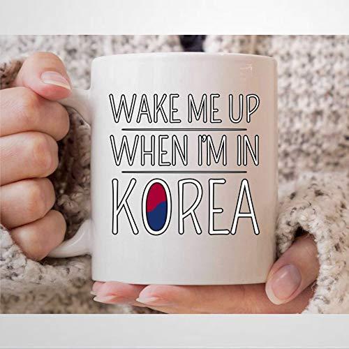 Taza de café con la bandera de Corea del Sur para K-Pop y K-Drama con texto en...