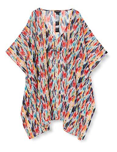 Emporio Armani Swimwear Damen Kaftan Beachwear All Over Chiffon Strandkleid, Mehrfarbig (Stampato Multicolor 14299), Keine Angabe (Herstellergröße: L/XL)