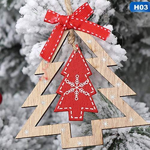 Pinellia Decor Pendenti di Natale 3 Pezzi in Legno per Albero di Natale con Decorazione per Albero di Natale Pendenti appesi a casa Decorazione per Feste @ H03