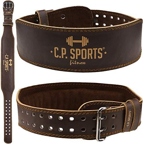 C.P. Sports - Cintura per sollevamento pesi, in vera pelle, ideale per Powerlifting, con schiena...