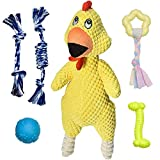 Feeko Squeaky Dog Toys for Puppy, 6 Pack Plush Screaming Chicken Squeaky Puppy Toys with Squeakers Small Dog Chew Toys Rope Dog Toys for Puppies Small Dogs, Puppy Teething Toys Pet Toys