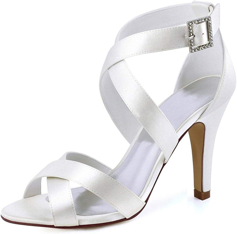 ZHRUI ZHRUI ZHRUI Damen Schnalle Knöchel Wrap Weiß Satin Trendy Hochzeitskleid Sandalen UK 3.5 (Farbe   -, Größe   -)  26c9d2