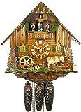 Orig. Schwarzwälder Kuckucksuhr (zertifiziert) , 8-Tage-Werk, mechanisch, Musik, Tänzer , 34 cm, Schwarzwaldhof mit Kuh, Schwarzwald