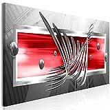 murando Impression sur Toile intissee Abstrait 120x40 cm Tableau Tableaux Decoration Murale Photo Image Artistique Photographie Graphique 1 Partie Gris Rouge a-A-0344-b-c