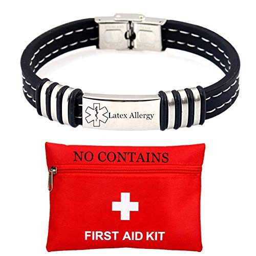 ForeverWill Personalized Men's Stainless Steel Silicone Medical Alert ID Latex Allergy Bracelets for Women Unisex Emergency Medic Bracelet Health Reminder for Safety Med Jewelry SOS