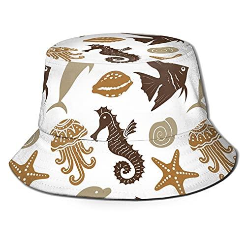Sombrero unisex náutico, caballo de mar, estrella de mar, delfín, pulpo, amarillo, marrón, verde verano sombrero pescador
