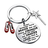 AKTAP Wizard of Oz Dorothy Ruby Inspired Keychain Wizard of Oz Dorothy Ruby Red Slippers Jewelry Inspirational Gift You're Braver Than You Believe (Red Slippers Keychain)