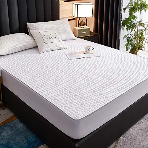 YFGY sabanas Cama Single, Protector de colchón Impermeable para niños, sábana Lavable, Colcha para Dormitorio, apartamento, Blanco, 150 cm x 200 cm