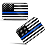 Biomar Labs® 2 x Aufkleber 3D Gel Silikon Stickers USA Amerika Thin Blue Line Flag Dünne Blaue Linie Polizei Flagge Fahne Auto Motorrad Fahrrad Fenster Tür PC Handy Tablet Laptop F 46