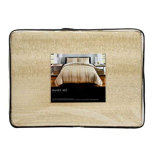 Tahari Home 3 Piece King Size Luxurious Duvet Quilt Cover Set Sparkling Gold Duvet Cover and 2 King Shams