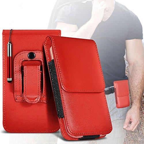 (Red) Archos 50 Helium Plus-Hülle Schutzhülle tasche hulle case (PU) Leder-Gürtelclip-Beutel-Kasten-Schlag-Abdeckung Holster mit Magnet + versenkbaren Stylus Touchscreen-Pen von i-Tronixs