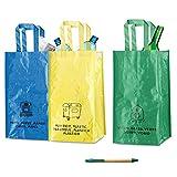Natuiahan 3 Bolsas de Reciclaje Duraderas Robustas, Prácticas y Fáciles de Limpiar y Transportar. Incluye un Bolígrafo de Papel Kraft.