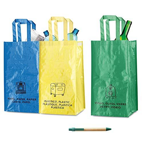 3 Sacchetti per il Riciclaggio Durevoli di Natuiahan. Borse per Raccolta Differenziata. Robusto, Pratico e Facile da Pulire e Trasportare. Include una Penna di Carta Kraft.