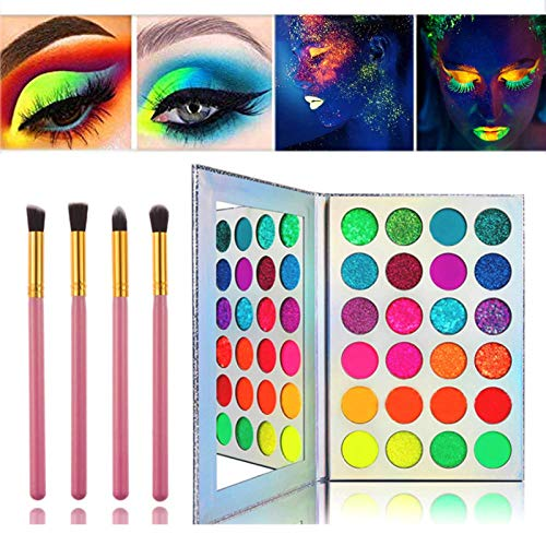 Glow in the dark paint, Kalolary Neon Eyeshadow Glow Palette UV Glow Blacklight Matte and Glitter, 24 Colors Highly Pigmented Eyeshadow Kit with 4 Brushes for Valentine's Day Face Body Makeup