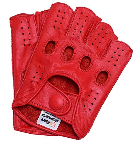 Riparo Women Genuine Leather Reverse Stitched Half-Finger Fingerless Driving Motorcycle Gloves (8, Red)