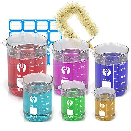Wandefol 6pcs Vaso de Vídrio Graduado, Vaso Cristal de Laboratorio, Vaso Medidor...