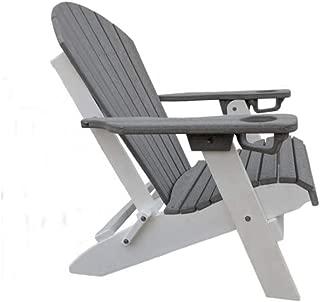 Premium Luxury Antique All Weather Folding Adirondack Chair w/Cup Holder - Poly Lumber, Eco Friendly, No Maintenance - Labadies (Driftwood White)