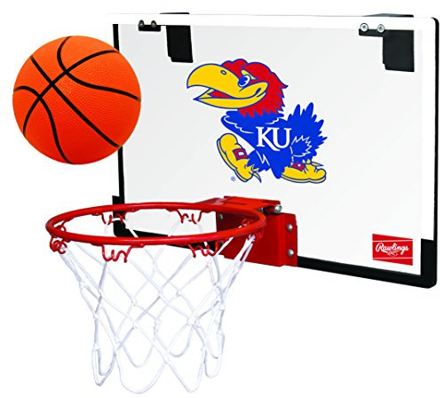 Rawlings NCAA Game On Polycarbonate (PC) Mini Basketball Hoop Set, University of Kansas Jayhawks