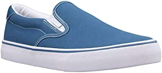 Lugz mens Clipper Classic Slip-on Fashion Sneaker, Blue/White, 9.5 US