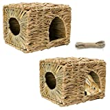Tfwadmx 2 Pack Rabbit Grass House - Natural Hand Woven Seagrass Play Hay Bed, Collapsible Hideaway Hut Toy for Bunny Hamster Guinea Pig Chinchilla Ferret