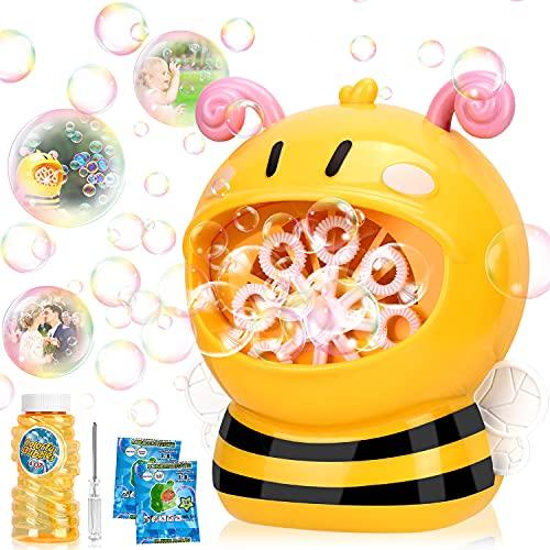 Gifort Maquina Burbujas para niños, soplador de Burbujas automático Cute Abejas Bubble Maker con solución de jabón para Juguetes Ideales para niños
