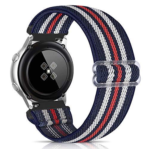 Zoholl - Pulsera elástica compatible con Samsung Galaxy Watch Active 2, Samsung Galaxy Watch, correa de repuesto elástica de 20 mm, diseño impreso de tela, cómoda banda para mujeres y hombres