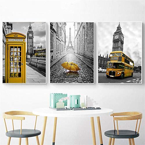 Tanyang Carteles e Impresiones nórdicos Cabina telefónica Amarilla Autobús Arte de Pared Blanco y Negro Pares de Londres Cuadros de Pared para la decoración de la Sala de Estar