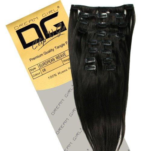 Dream Extensions à clips pour cheveux Couleur 1B 35,5 cm