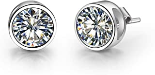 Women Stud Earrings, 925 Sterling Silver, 5A Cubic Zirconia, Cable Chain, Elegant Gift Box Packaging