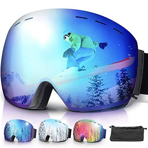 Amzdeal Gafas de Esquí, Gafas Esquí Snowboard Doble Capa Anti Niebla 100% Protección UV Desmontables Lentes con Correa Antideslizante OTG Gafas de Esquiar para Adultos Hombre Mujer Juventud