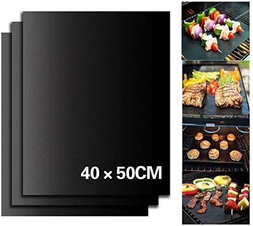 Ealicere 3 Stück 40x50 cm BBQ Grillmatte, antihaftbeschichtet, Wiederverwendbare Backmatten für Toll über Kohle, Gas und Weber Style Grills– Perfekt für Fleisch, Fisch und Gemüse Schwarz
