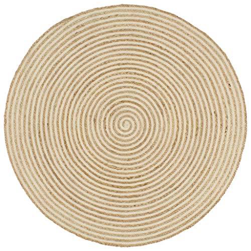 Nishore Alfombra Yute Redonda Exterior Tejida a Mano 120 cm (Natural y Estampado de Espirales Blanco)