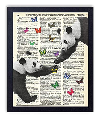 Panda Love With Butterflies Vintage Wall Art Upcycled Dictionary Art Print Poster 8x10 inches, Unframed
